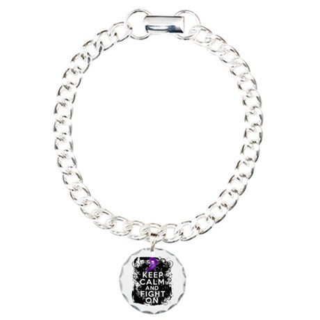 Crohns Disease Keep Calm Fight On Charm Bracelet,