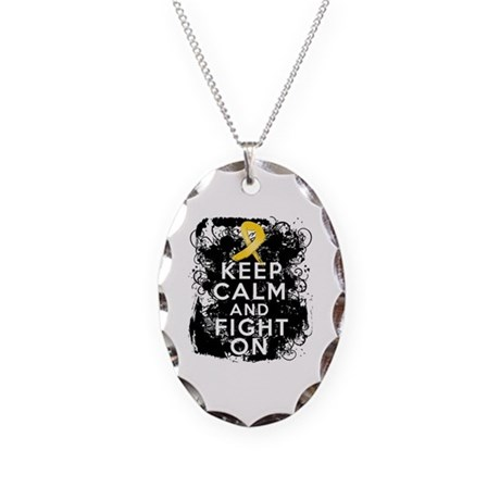 Childhood Cancer Keep Calm Fight On Necklace Oval