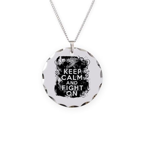 Brain Cancer Keep Calm Fight On Necklace Circle Ch