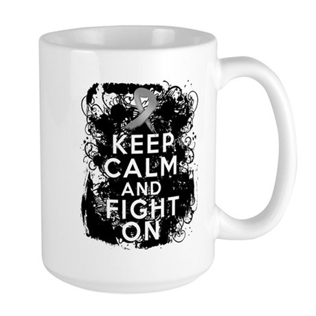 Brain Cancer Keep Calm Fight On Large Mug