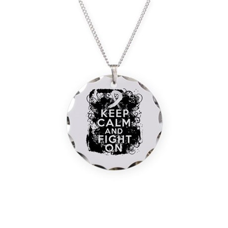 Bone Cancer Keep Calm Fight On Necklace Circle Cha