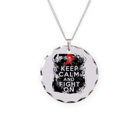 Blood Cancer Keep Calm Fight On Necklace Circle Ch