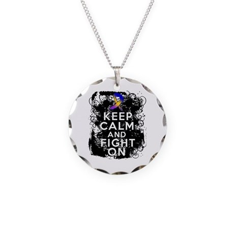 Bladder Cancer Keep Calm Fight On Necklace Circle