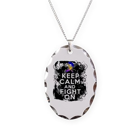 Bladder Cancer Keep Calm Fight On Necklace Oval Ch