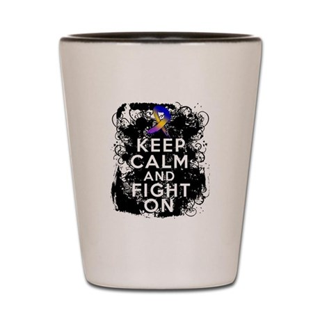 Bladder Cancer Keep Calm Fight On Shot Glass
