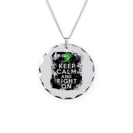 Bile Duct Cancer Keep Calm Fight On Necklace Circl