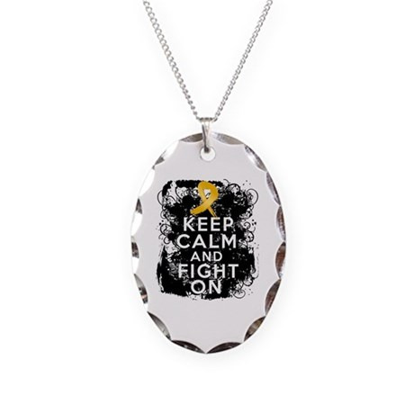 Appendix Cancer Keep Calm Fight On Necklace Oval C