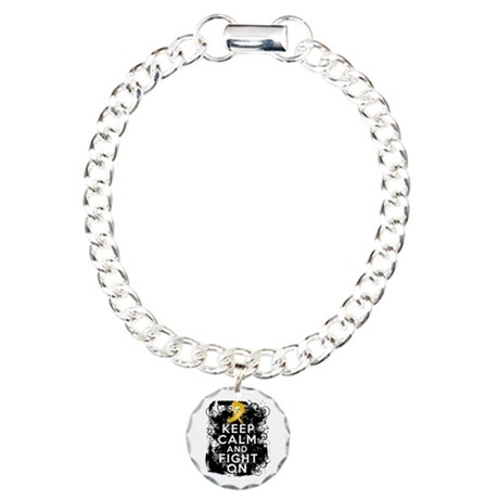 Appendix Cancer Keep Calm Fight On Charm Bracelet,
