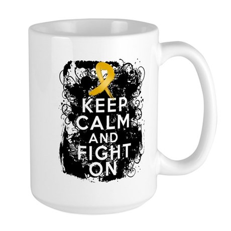 Appendix Cancer Keep Calm Fight On Large Mug