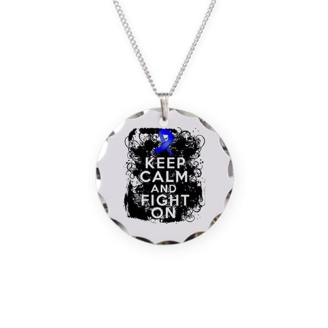 Anal Cancer Keep Calm Fight On Necklace Circle Cha