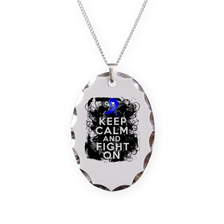 Anal Cancer Keep Calm Fight On Necklace Oval Charm