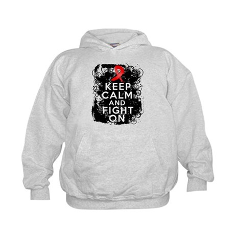 AIDS HIV Keep Calm Fight On Kids Hoodie