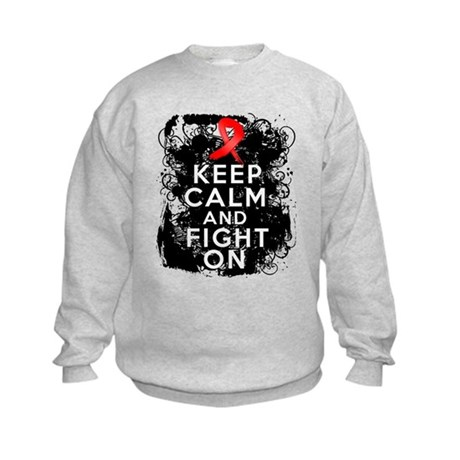AIDS HIV Keep Calm Fight On Kids Sweatshirt