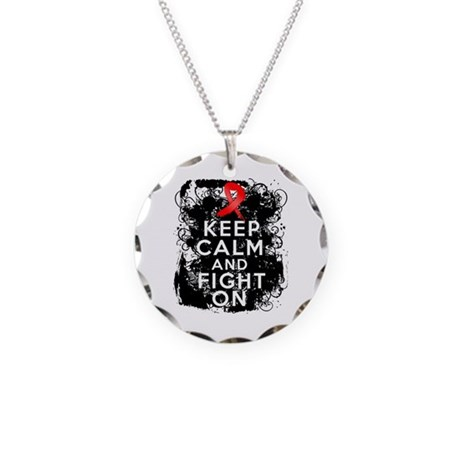 AIDS HIV Keep Calm Fight On Necklace Circle Charm