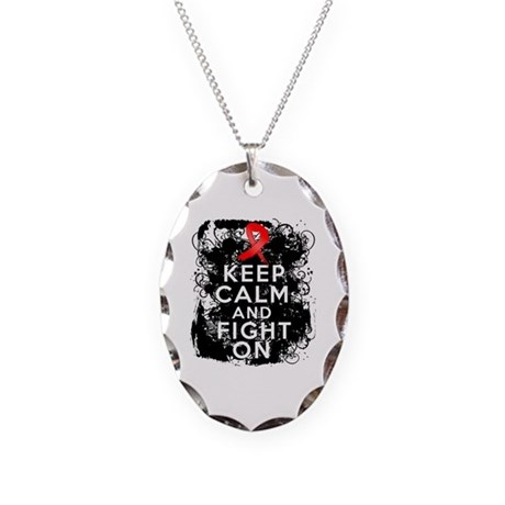 AIDS HIV Keep Calm Fight On Necklace Oval Charm