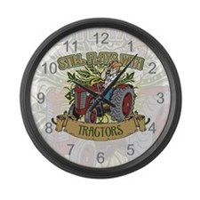 Still Plays with Red Tractors Large Wall Clock