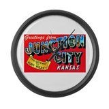 Junction City Kansas Greetings Large Wall Clock