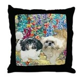 Shih Tzu Fine Art Bijou & Asti Throw Pillow