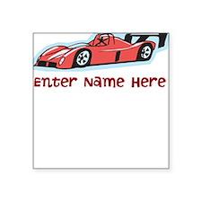 Personalized Racecar Square Sticker 3