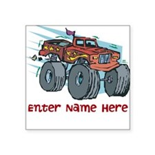 Personalized Monster Truck Square Sticker 3