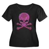Pink Rhinestone Skull and Crossbones Plus Size T-S