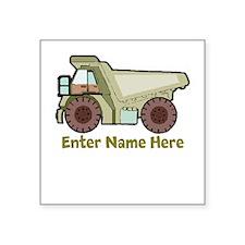Personalized Dump Truck Square Sticker 3