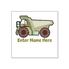 "Personalized Dump Truck Square Sticker 3"" x 3"""