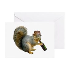 Squirrel Beer Hat Greeting Card