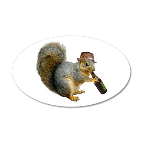 Squirrel Beer Hat 35x21 Oval Wall Decal
