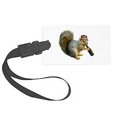 Squirrel Beer Hat Large Luggage Tag