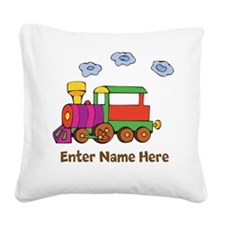 Personalized Train Engine Square Canvas Pillow