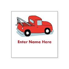 "Personalized Tow Truck Square Sticker 3"" x 3"""