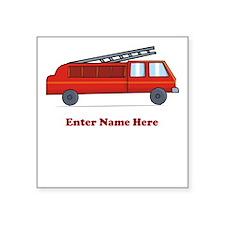 """Personalized Fire Truck Square Sticker 3"""" x 3"""""""