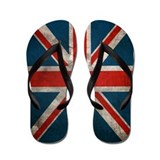 Distressed British Flag Flip Flops