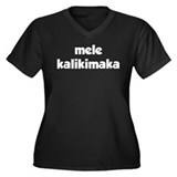 Mele Kalikimaka Women's Plus Size V-Neck Dark T-Sh