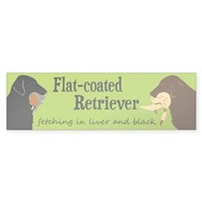 Fetching Flat-coated Retriever Bumper Sticker (10)