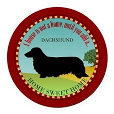 Dachshund [long-haired] Round Car Magnet
