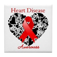 Heart Disease Heart Ribbon Tile Coaster