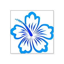 Blue Hibiscus Oval Sticker