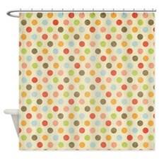 Faded Rainbow Polka Dot Shower Curtain