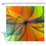 Orange Swirl Flower Shower Curtain