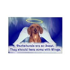 Angel Wings -Dachshund,Red Magnets