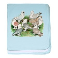 Classic Frill Pigeons baby blanket
