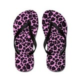 Purple Leopard Print Flip Flops