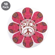 "Peace Flower - Affection 3.5"" Button (10 pack"