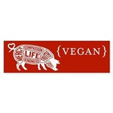 Words to Live By Pig Bumper Sticker, Red-Orange