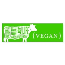 Words to Live By Cow Bumper Sticker, Green