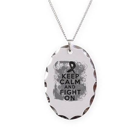 Melanoma Keep Calm Fight On Necklace Oval Charm