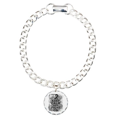 Melanoma Keep Calm Fight On Charm Bracelet, One Ch