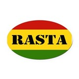 Rasta Reggae Colours Oval Car Magnet